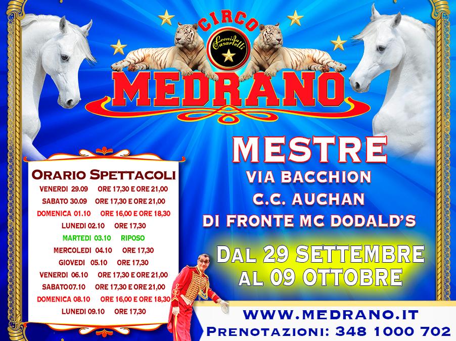 MESTRE  VIA BACCHION –  CENTRO COMMERCIALE AUCHAN – DI FRONTE MC DONALD'S         DAL 29.09.2017 AL 09.10.2017