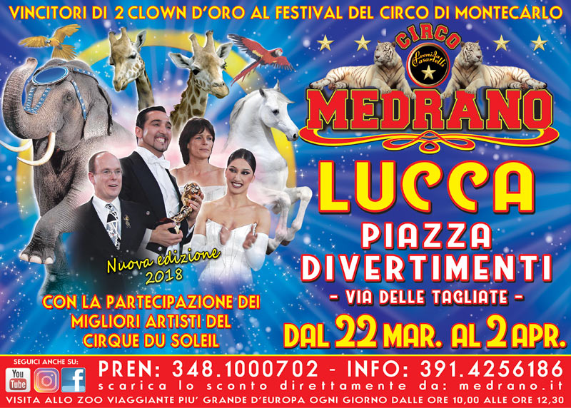 Lucca 2018 –  P.zza Divertimenti, via delle Tagliate – dal 22/03 al 02/04