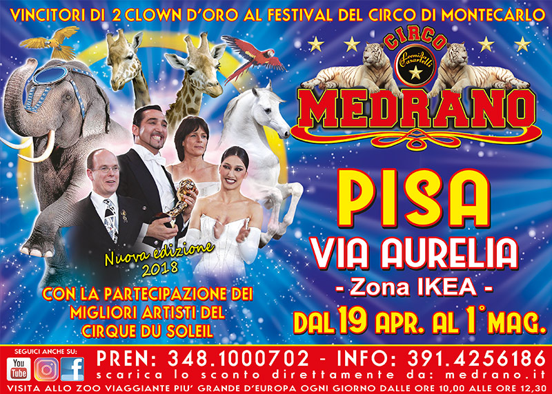 Pisa 2018 – Via Aurelia, vicino Ikea – dal 19 Aprile al 01 Maggio